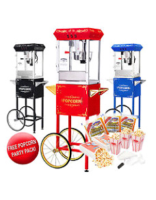 Best Quality Popcorn Machine 8oz Popcorn Popper w/Cart 8 Ounce Red-Black-Blue!